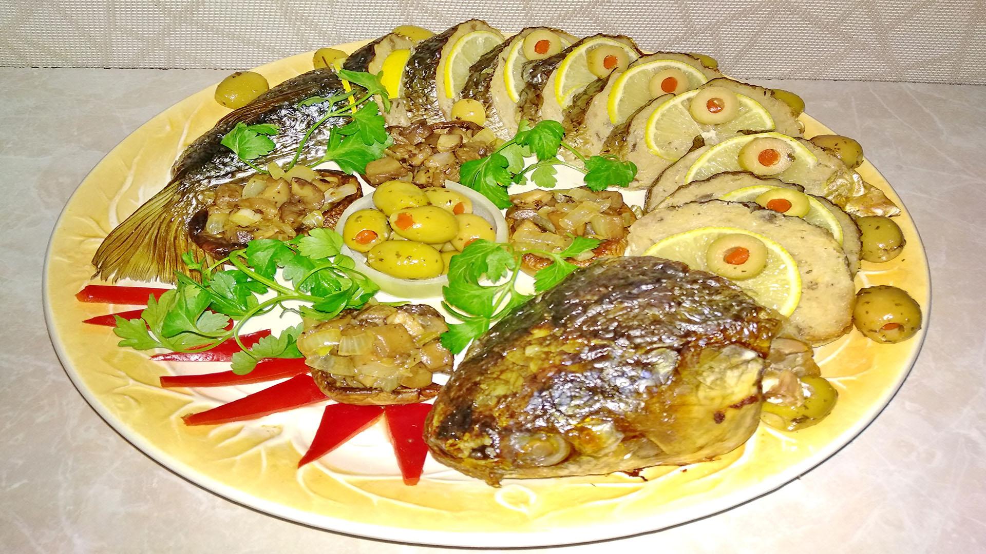 Фаршированная рыба в духовке целиком, простой рецепт